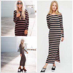 Free People END GAME Striped ribbed long dress
